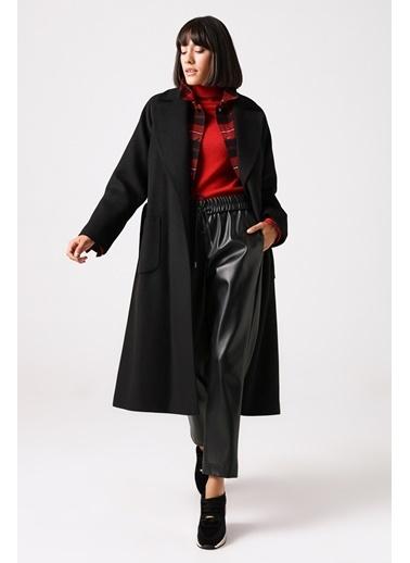 Gusto Erkek Yaka Klasik  Palto  Siyah